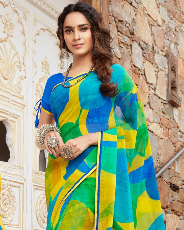 Vishal Prints Yellow And Blue Georgette Saree With Satin Piping
