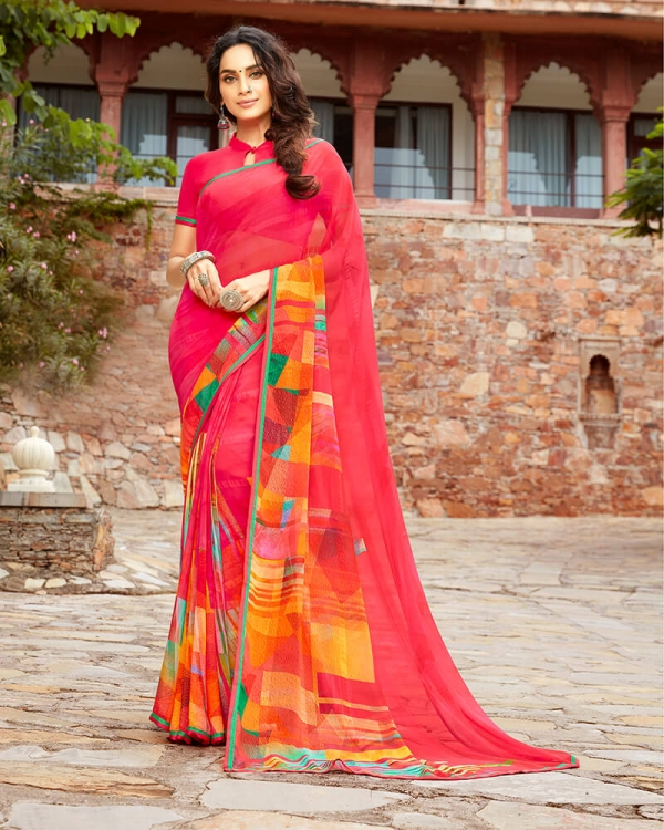 Vishal Prints Pink And Yellow Georgette Saree With Satin Piping