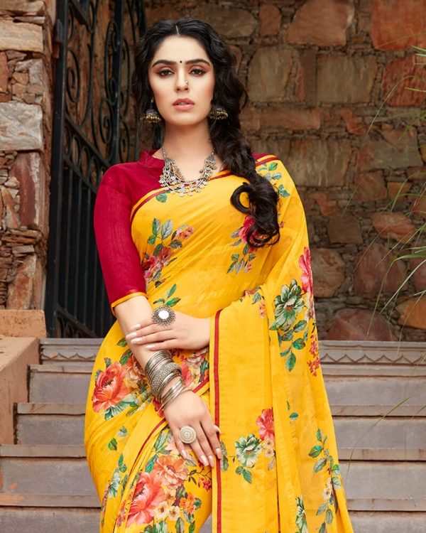 Vishal Prints Yellow And Red Floral Print Georgette Saree With Satin Piping