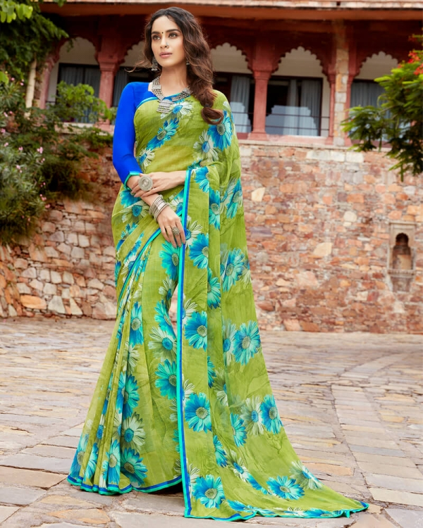 Vishal Prints Mehandi Green And Blue Floral Print Georgette Saree With Satin Piping