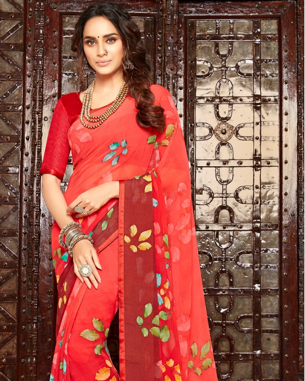 Vishal Prints Red And Maroon Floral Print Georgette Saree With Satin Piping