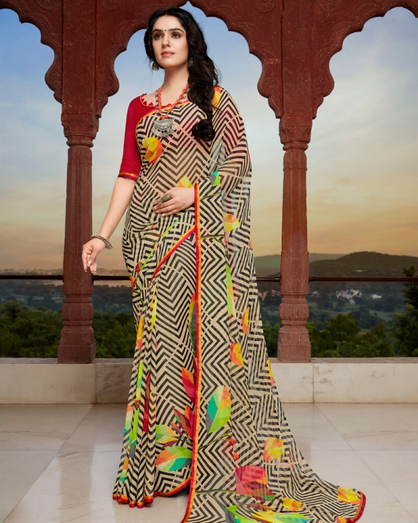 Vishal Prints Black And Beige Georgette Saree With Satin Piping