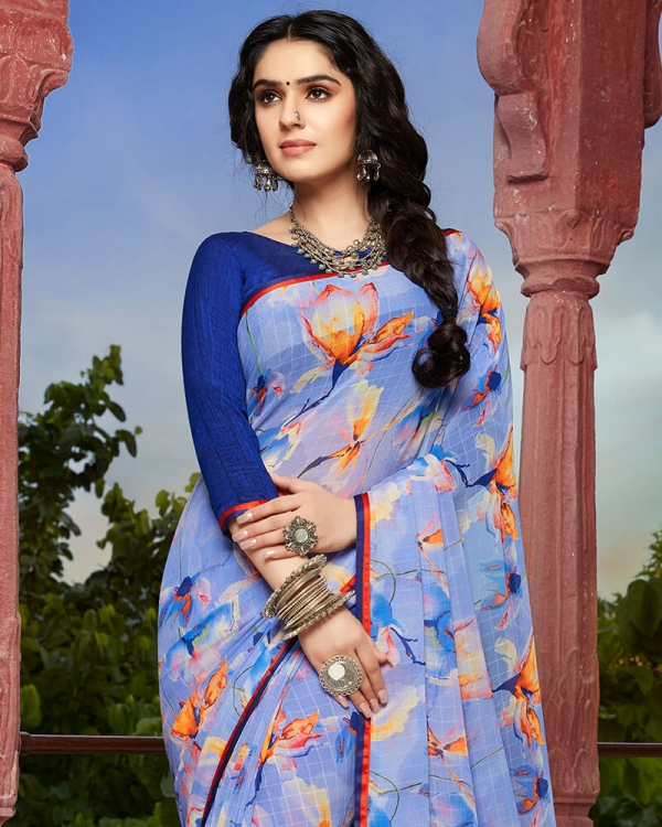 Vishal Prints Sky Blue And Orange Floral Print Georgette Saree With Satin Piping
