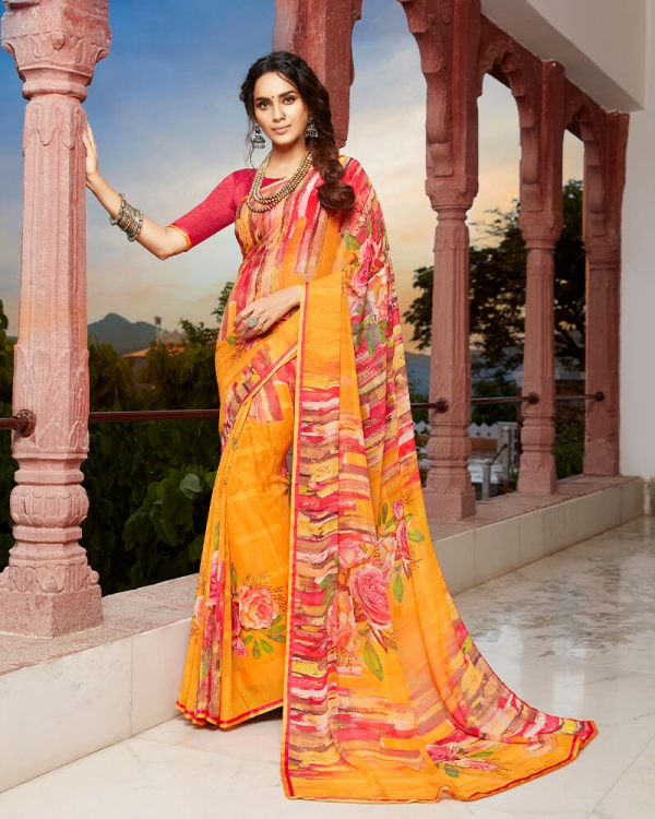 Vishal Prints Yellow And Orange Floral Print Georgette Saree With Satin Piping