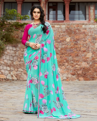 Vishal Prints Turq Blue And Pink Floral Print Georgette Saree With Satin Piping