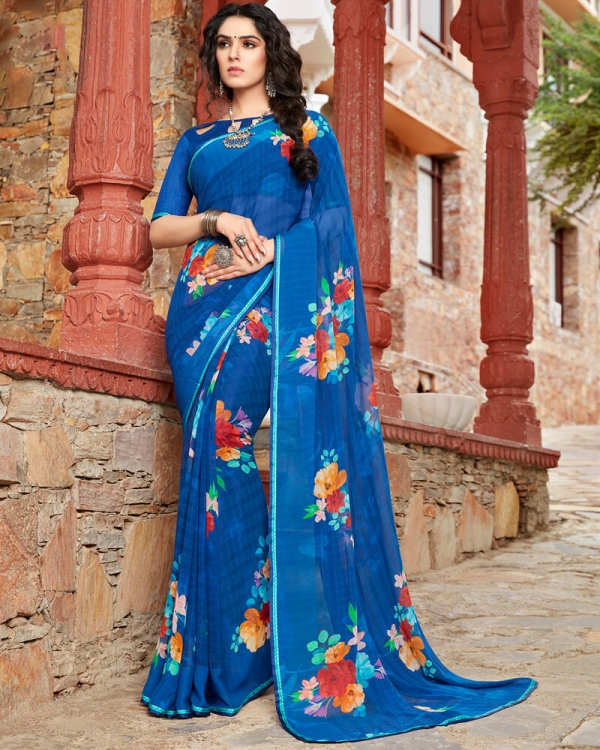 Vishal Prints Blue Floral Print Georgette Saree With Satin Piping