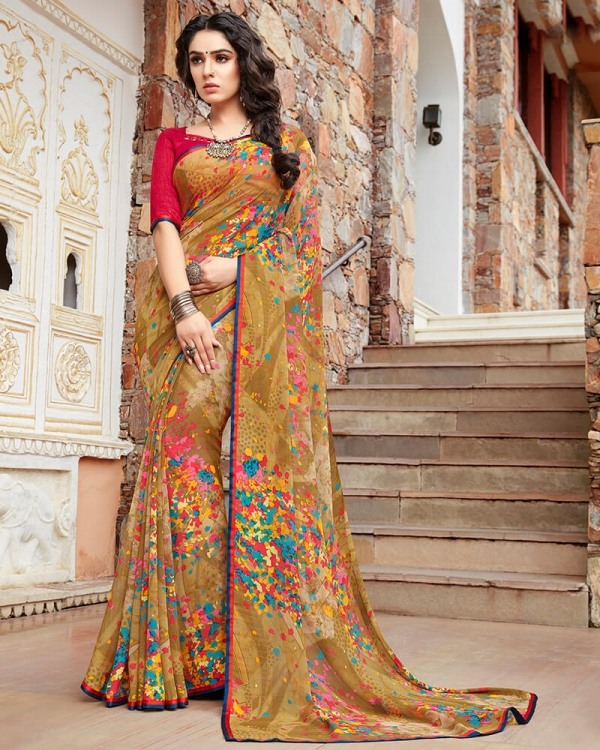 Vishal Prints Mustard And Pink Georgette Saree With Satin Piping