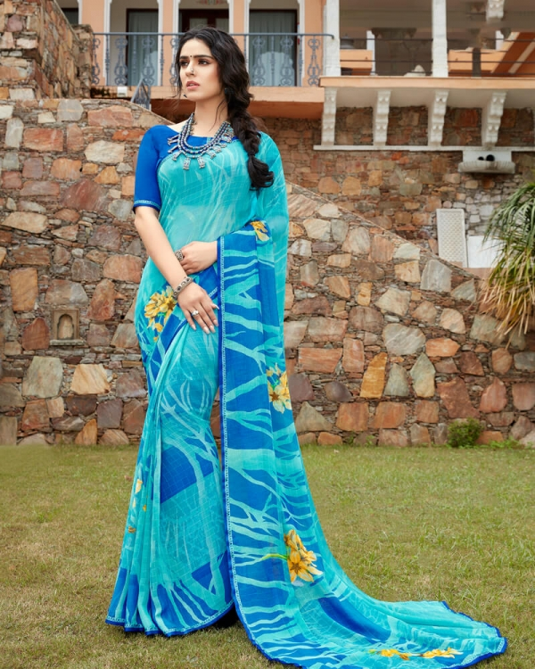 Vishal Prints Blue And Turq Blue Floral Print Georgette Saree With Satin Piping