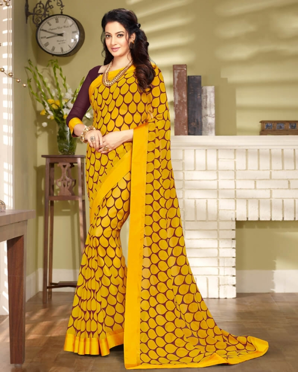 Vishal Prints Yellow And Brown Georgette Saree With Border