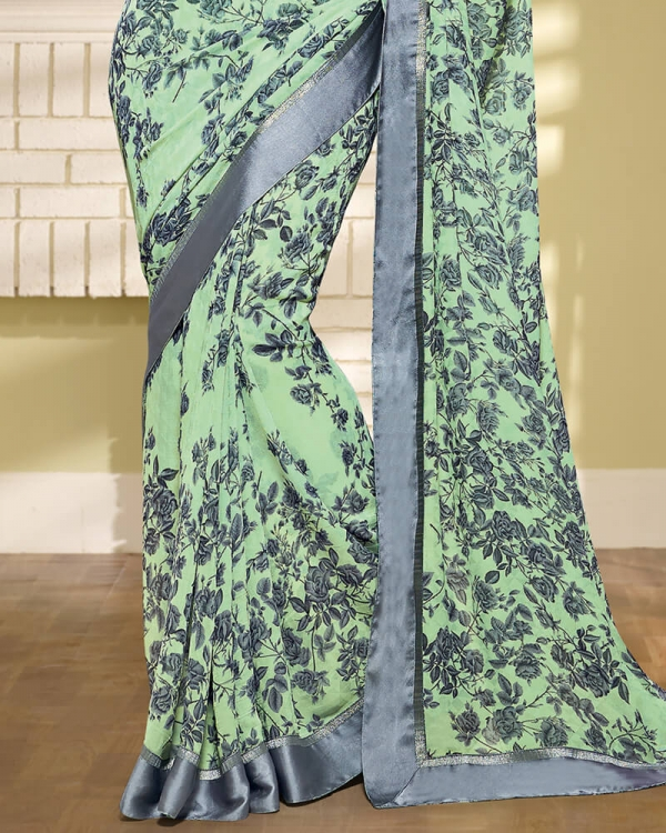Vishal Prints Pista Green And Grey Georgette Saree With Border