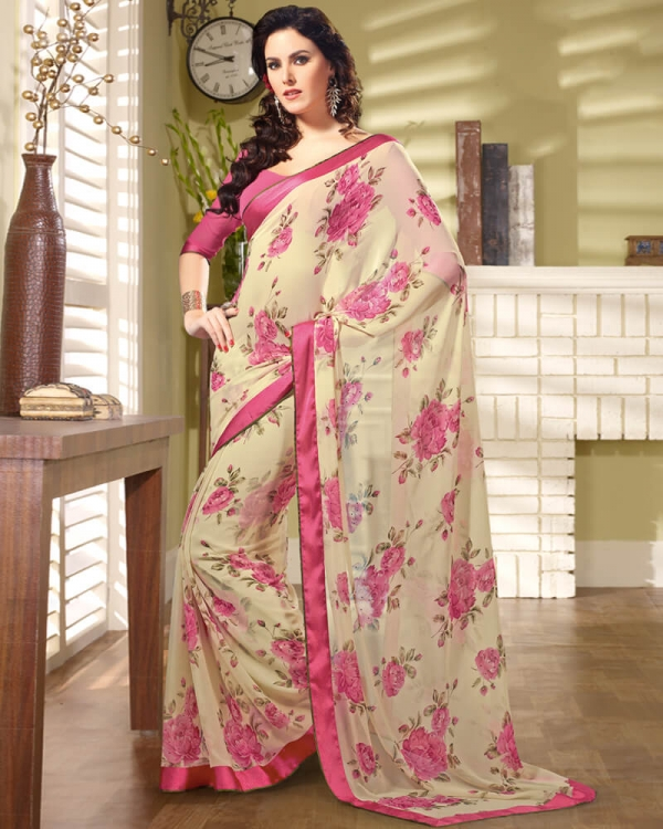 Vishal Prints Cream And Pink Georgette Saree With Border