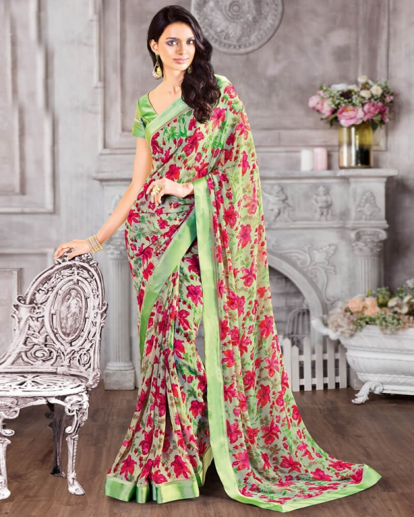 Vishal Prints Pista Green And Red Georgette Saree With Satin Border