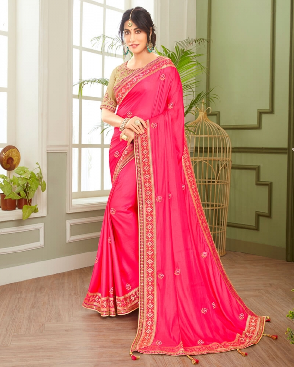 Vishal Prints Pink And Beige Cotton Silk Saree With Jari And Embroidery Work