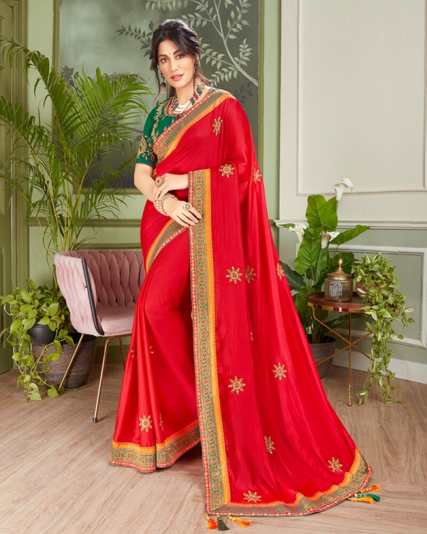 Vishal Prints Red And Bottle Green Cotton Silk Saree With Jari And Embroidery Work