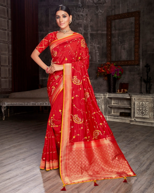 Vishal Prints Red Silk Saree With Embroidery Work