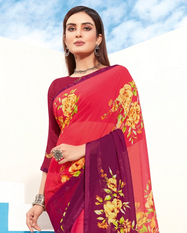 Vishal Prints Red And Purple Digital Print Georgette Saree With Piping