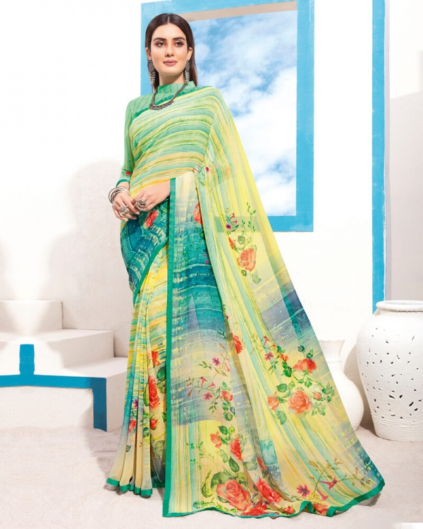 Vishal Prints Yellow And Green Digital Print Georgette Saree With Piping