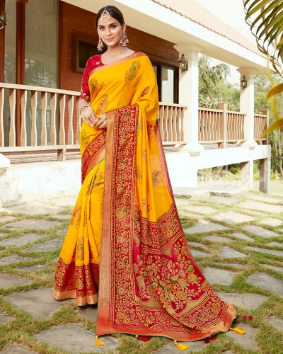 Vishal Prints Yellow And Red Silk Saree With Weaving Work