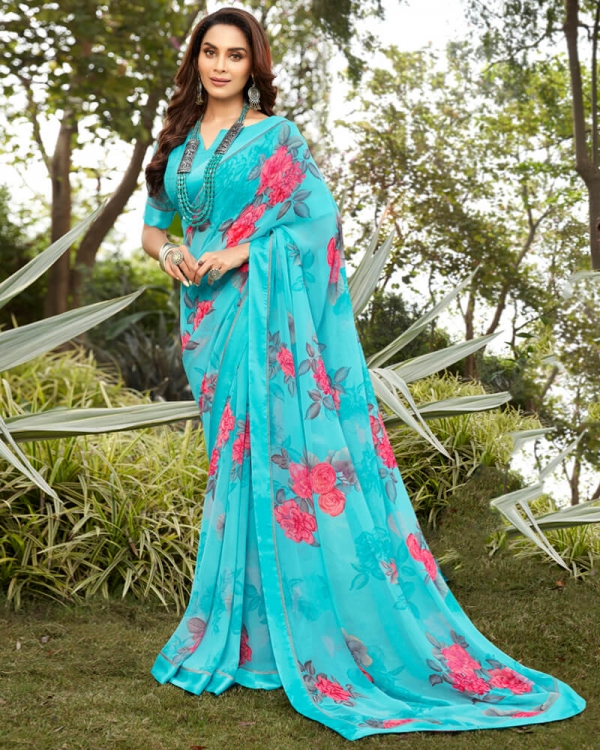 Vishal Prints Turquoise And Peach Georgette Saree With Satin Border