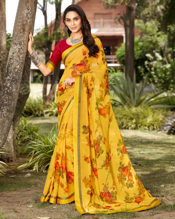 Vishal Prints Yellow And Red Georgette Saree With Satin Border