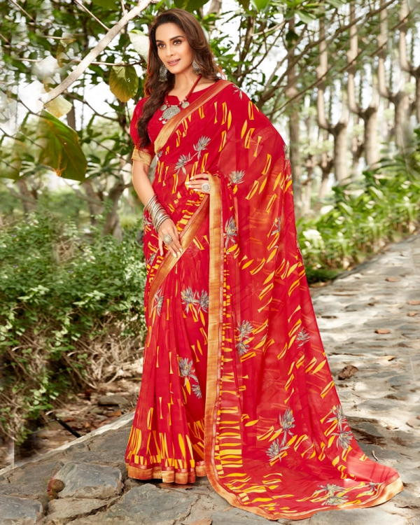 Vishal Prints Red And Yellow Georgette Saree With Satin Border
