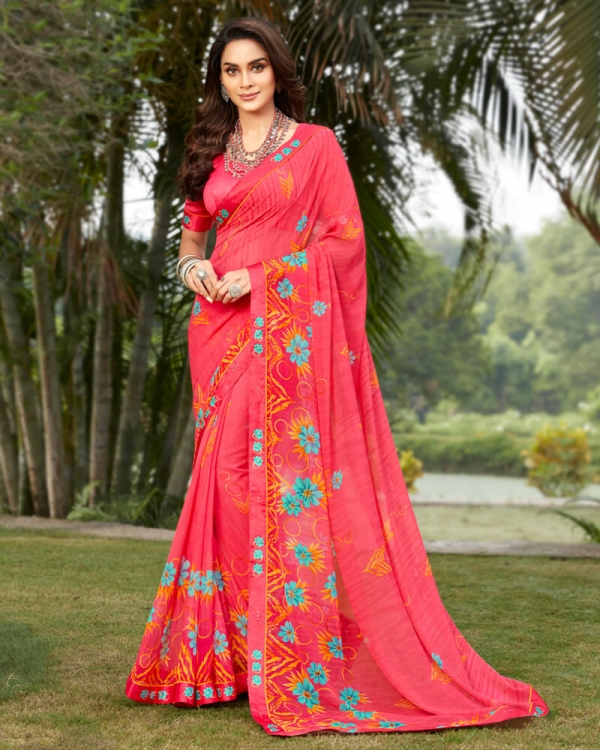 Vishal Prints Peach And Turquoise Georgette Saree With Satin Border