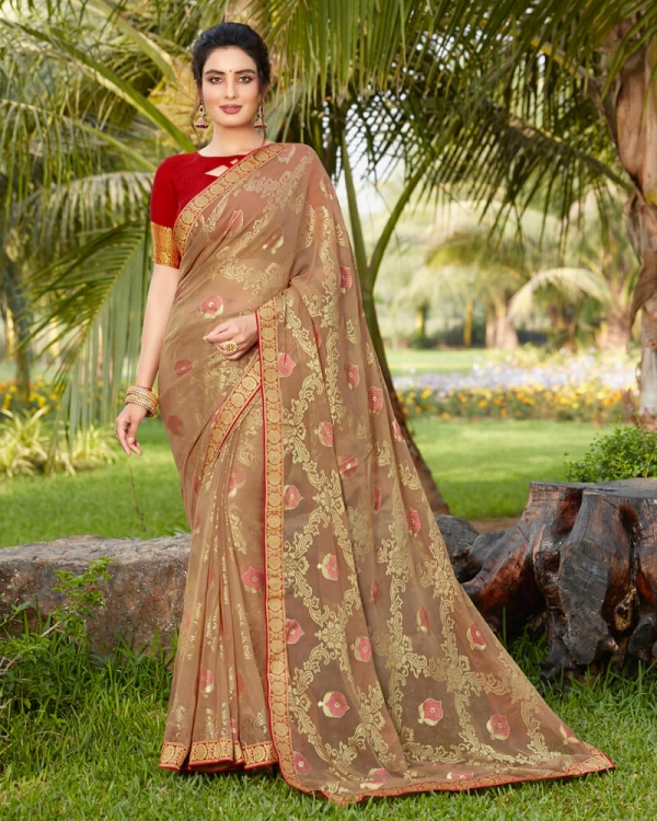 Vishal Prints Pale Brown Brasso Saree With Foil Print And Border